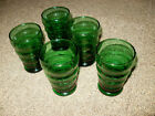 5 Anchor Hocking Forest Green Glasses  Ribbed Tumble - Glasses  3 5/8