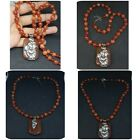 Beautiful old agate beads necklace with pendant silver #3Y