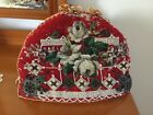 Victorian red woollen hand beaded tea cosy vintage high tea, very good condition
