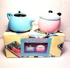 Fitz And Floyd 50s Kitchen Tea Kettle Pot Salt And Pepper Shaker Set With Box