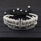 Luxury Men Micro Pave CZ Zircon Ball King Crown Braided Adjustable Bracelets