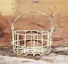 Vintage Primitive Antique Farmhouse Style Small Wire Egg Basket - Great Size!