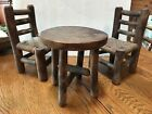 Hickory Doll Furniture Round Table w 2 Two Chairs- All Hickory