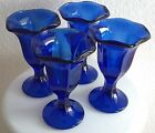 4 Vtg Dessert Ice Cream / Sherbert Cups Dishes Cobalt Blue Glasses Mid Century