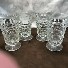 Vtg Indiana Glass Whitehall Colony Clear Footed Tumblers (4) EXCELLENT CONDITION