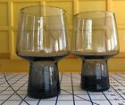 2 Vintage Libbey Black Smoke Accent Rock Sharpe Tumbler Beer Glasses Mid Century