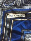 Christian Dior Pocket Square Hankerchief Paisley Neck Scarf Vintage Blue