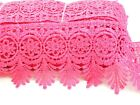 WHOLESALE INDIA FANCY SARI TRIM LACE EDGING  BORDER SILK BEADED PINK :  12 YARDS