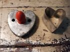 Antique Primitive 2 Tin  Heart Shaped Cookie Biscuit Cutters Country Kitchen