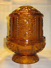 Vintage L.E. SMITH MOON AND STARS AMBER ART GLASS FAIRY LAMP CANDLE HOLDER LQQK
