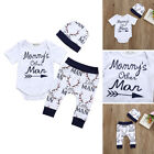 US Stock Newborn Baby Boy Tops Romper Pants Summer Outfits Set Clothes Tracksuit