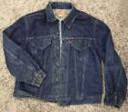 Vtg LEVIS Men Large Jean Denim Jacket Button Trucker Blue Sz 40 Dark Vintage