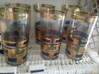 Vintage CULVER Set of 6 Midcentury Geometric  22K Gold Highball Tumblers Glasses