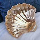 VINTAGE PEACH LUSTRE CLAM SEA SHELL FAN CANDY NUT SOAP DISH