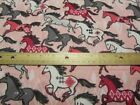 2 Yards Pink With Pink Gray White Aztec Running Horses Flannel Fabric