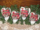 4 Handmade Old Red Truck Christmas fabric hearts Bowl Fillers Country Home Decor