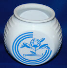 Vintage Vitrock Blue Circle Flower on White Grease Range Jar Fire King