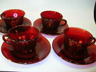 4 Vintage ROYAL RUBY Anchor GLass Red Glass CUP SAUCER Sets