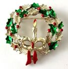 Vintage Signed Gerrys Enamel Christmas Wreath w Candle Pin Brooch Holly