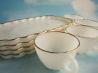 VINTAGE SET OF 4  Hocking Fire King Milk Glass Rachel Classic 22KGOLD EDGE