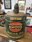 RARE EARLY VINTAGE GREEN AMOCO 5 GALLON MOTOR OIL GAS CAN W/ SPOUT AND HANDLE