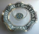 Vintage CERA Etruscan Frieze Ruffled Glass Chip and Dip Bowl People Greek Key