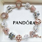 AUTHENTIC PANDORA SILVER CHARM BRACELET WITH LOVE ROSE GOLD CHARMS HEART