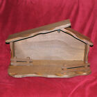 Vintage Mid century Modern Nativity Scene Stable Solid Wood 25 Inches Long