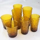 Set of 7 Vintage Anchor Hocking LIDO MILANO Honey Gold Amber Glasses