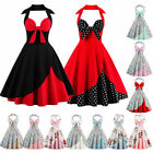 Women Vintage 1950s Halter Style Rockabilly Evening Prom Party Swing Dress Plus