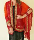 One of a Kind Pure Silk Hand Beaded Vintage Saree Shawl Gold/Silver Thread