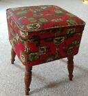Mid Century Red Vinyl Bench, Foot Stool, Storage Box, Footed, Sewing, Ottoman.
