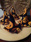 Set of 4 Handmade Halloween Witches Hat Bowl Fillers~Black~Jack O'Lanterns