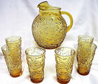 ANCHOR HOCKING GALLON PITCHER WITH 6 MATCHING 12 OZ TUMBLERS - GOLD COLOR