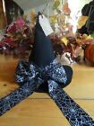 Handmade~Decorative Witches Hat~Halloween~Fall~Primitive~Black Felt~Spider webs