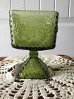 Indiana Glass Green Raised Grape Square Candy Dish Planter Footed Pedestal