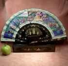 ANTIQUE c1870 CHINESE 1000 FACES FAN needs repair IN DECORATED LACQUER BOX nice