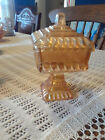 Vintage Jeanette Marigold Carnival Glass Wedding Box Covered Compote Candy Dish