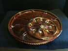 Vintage Indiana Glass Pebble Leaf Amber Lg. Relish Egg Serving Tray Excellent