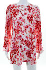 Pretty Little Thing Pink Floral 3 4 Sleeve Lace Up V Neck Shift Dress Size 6 New