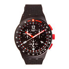 Swatch STAND HALL SUSB411 Chronograph Men's Black Dial Red Accent Watch