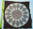 Antique Quilt Block 1800's Hand sewn Star/Wheel Crisp! large 18