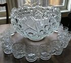 Vintage Punch Bowl Set 19 Pc L. E. Smith Glass Daisy And Button Pattern 18 Cups