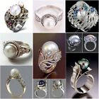 Antique White Pearl Women Wedding Engagement Ring 925 Silver Jewelry Size 5 12