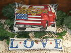 Patriotic Red Truck LOVE shelf sitters bowl fillers Wreath making Country Decor