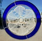 Vintage Stained Glass Hanging Window Sun Catcher Cobalt Blue Lace Dollie 9 3/4