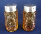 PEPPER SHAKERS SORENO GOLD BY ANCHOR HOCKING AMBER GLASS