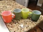 Set of 4 Vintage Fire King Mixed Colors Coffee Mug Cup D Handle USA