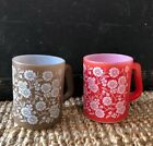 HTF FEDERAL Oven Ware VINTAGE MILK GLASS Red and Brown Floral Flower Cup Mug