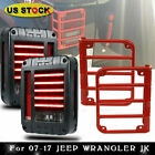 Tail Lights Rear Turn Signal Reverse Lamp+Guard Cover For 07 16 Jeep Wrangler JK